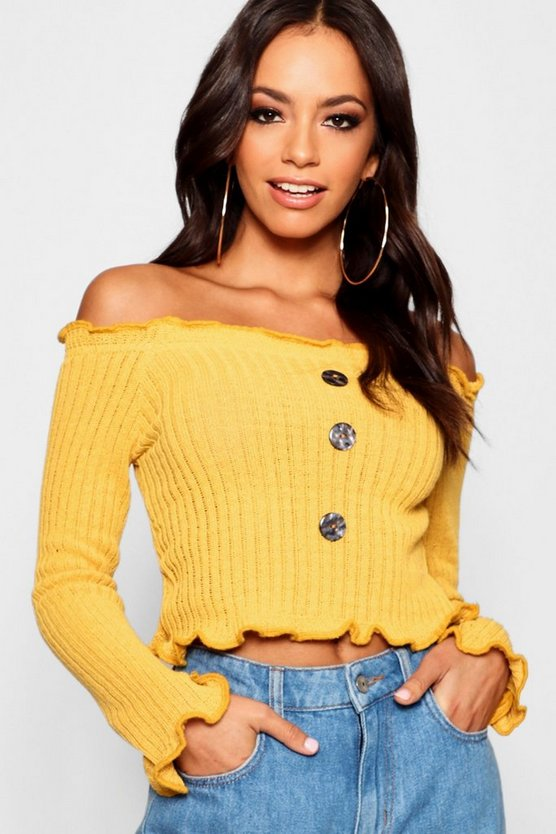 Womens Mustard Button Front Lettuce Hem Jumper