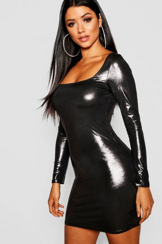 Metallic Long Sleeve Bodycon
