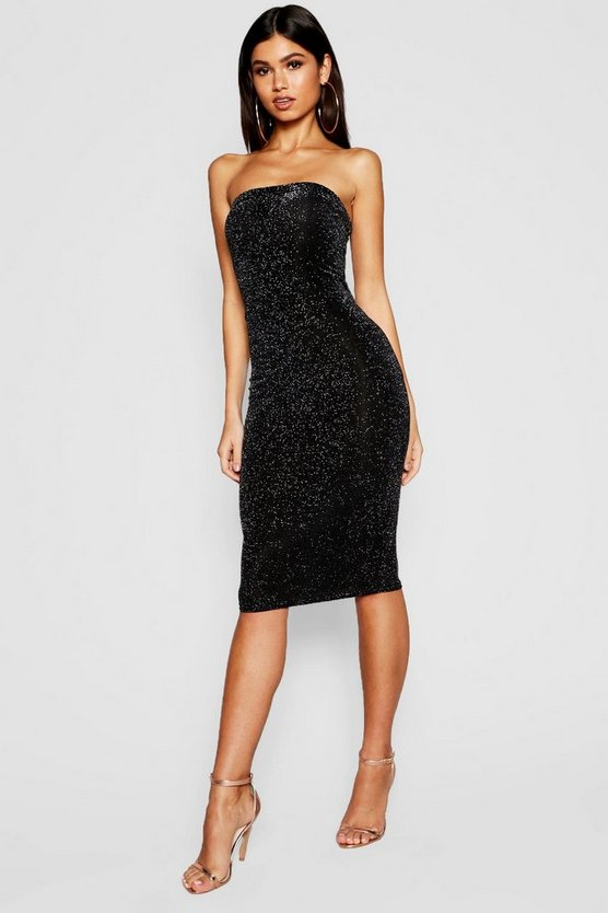 Shimmer Bandeau Midi Dress
