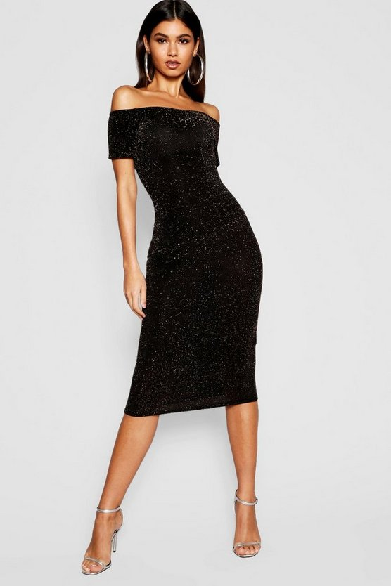 Shimmer Off Shoulder Midi Dress