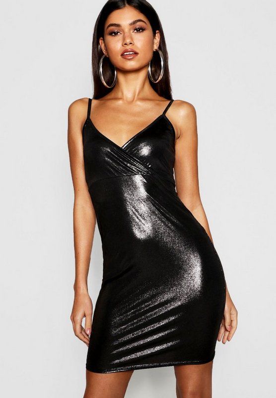 Metallic Strappy Mini Dress