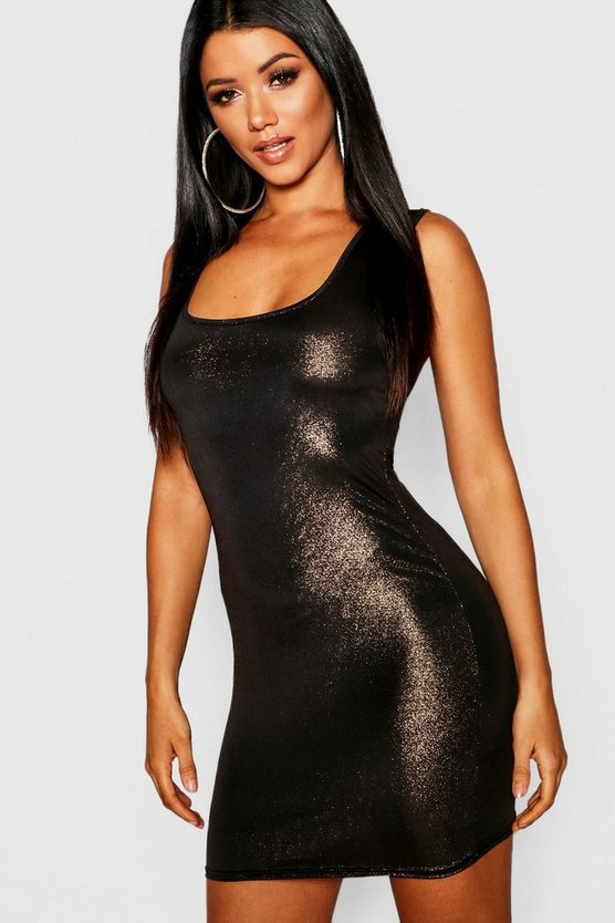 Metallic Square Neck Bodycon