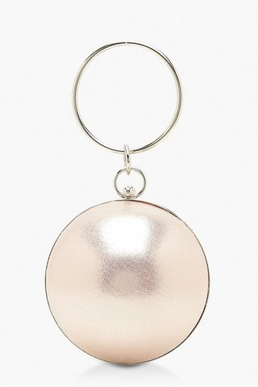Womens Rose Metallic Sphere & Ring Handle Bag