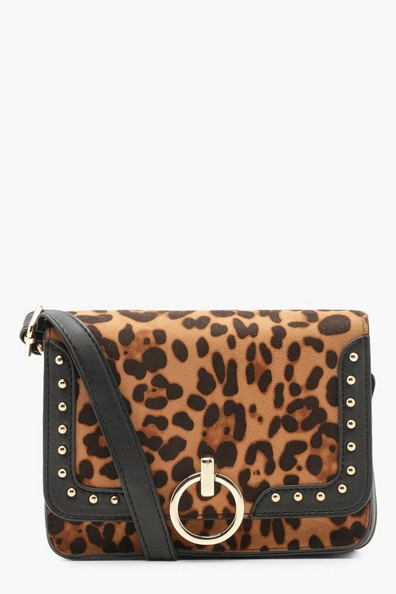 Ring Pull And Stud Leopard Cross Body