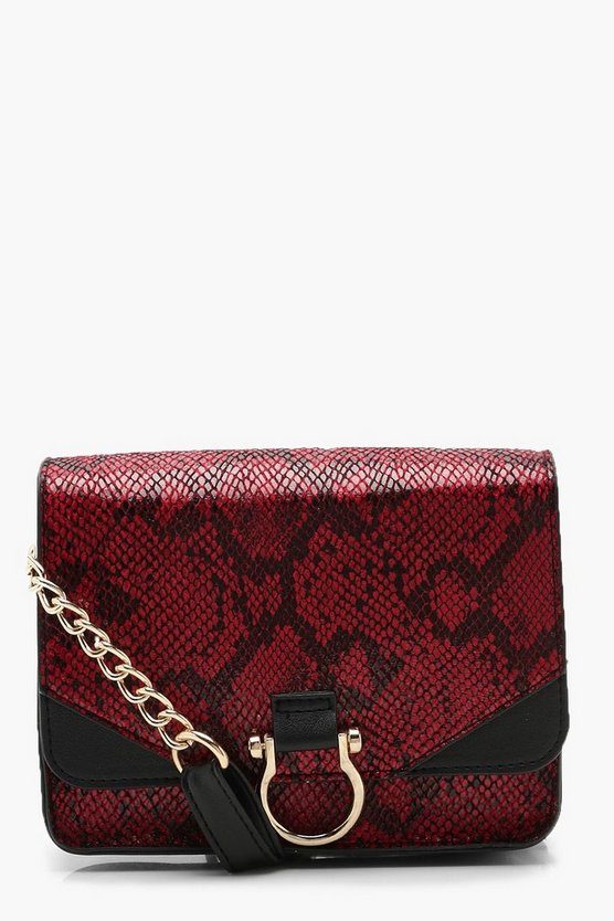 Ring Detail Faux Snake Cross Body, Red, Donna