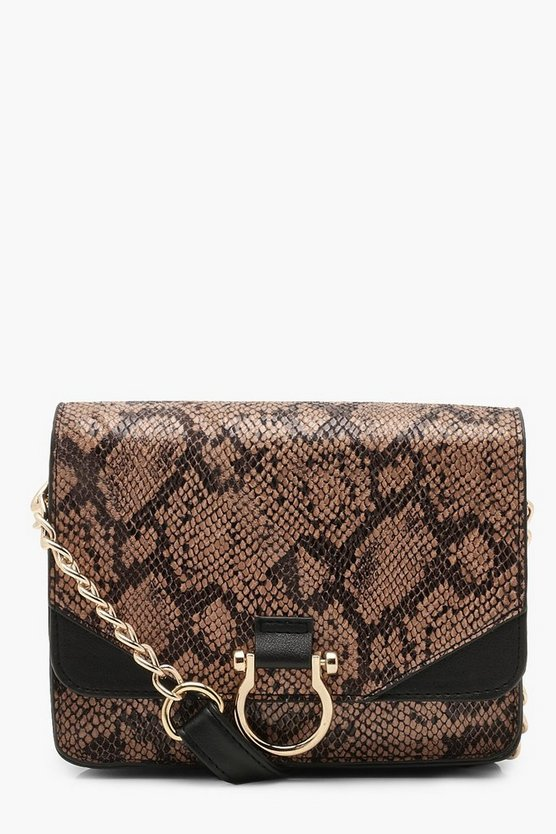 Ring Detail Faux Snake Cross Body