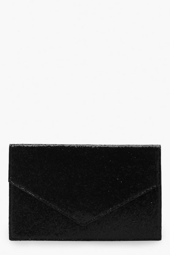 Womens Black Chunky Glitter Envelope Clutch And Chain
