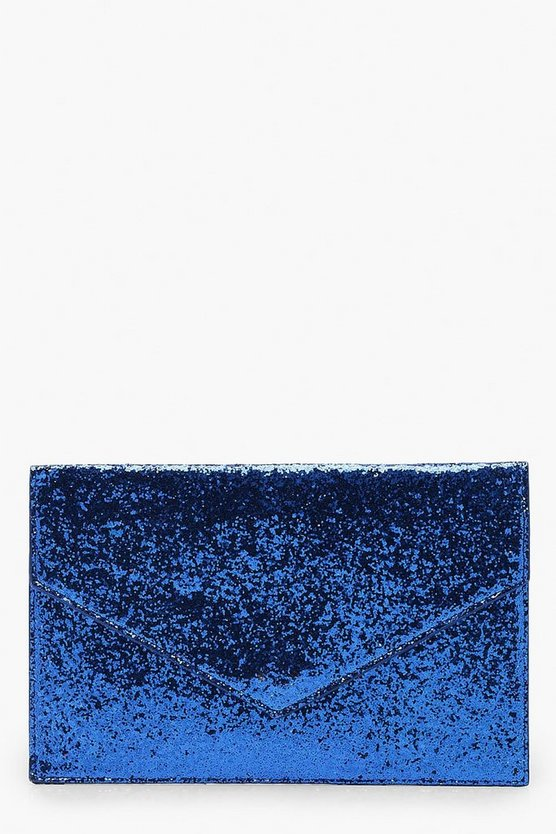 Chunky Glitter Envelope Clutch And Chain
