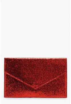 Womens Red Chunky Glitter Envelope Clutch And Chain