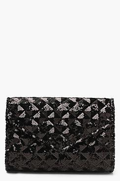 Sequin Quilt Structured Clutch And Chain