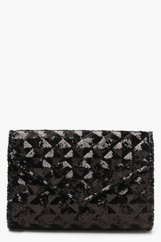 Womens Black Sequin Quilt Structured Clutch And Chain