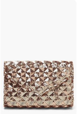 Womens Rose Sequin Quilt Structured Clutch And Chain