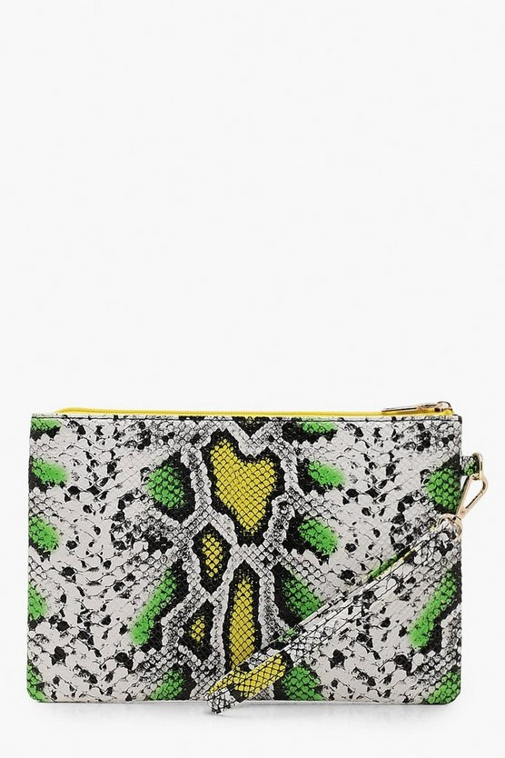 80's Faux Snake Ziptop Clutch