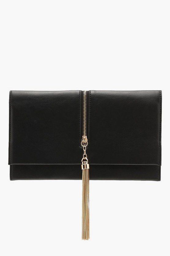 Womens Black Metallic Chain Tassel Clutch