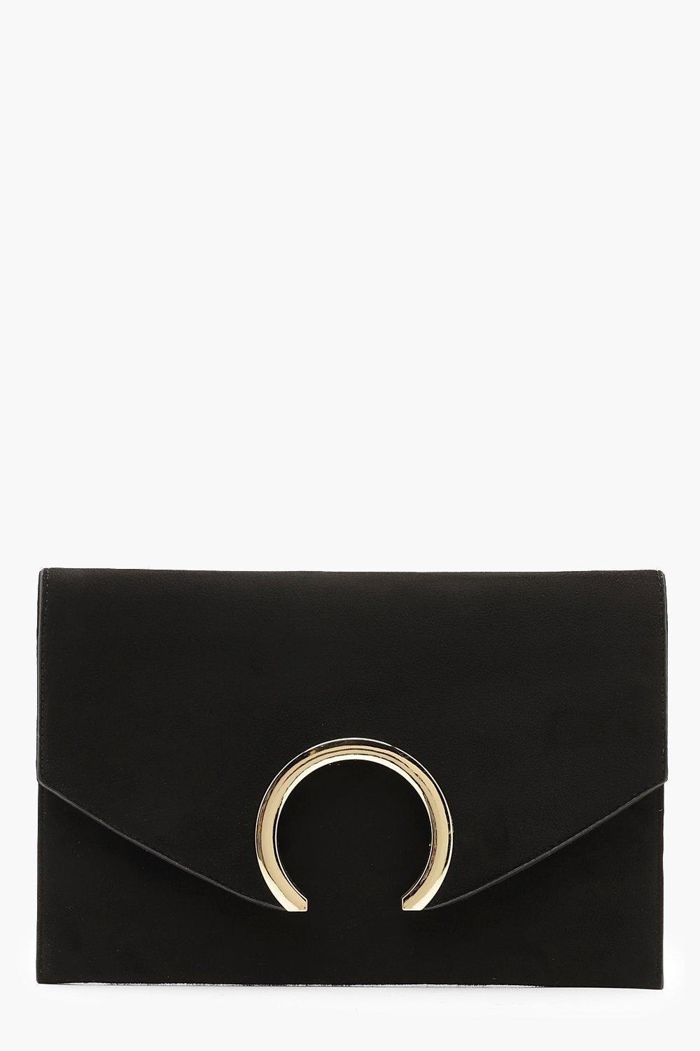 Suedette Large Ring Clutch And Chain