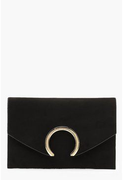 Womens Black Suedette Large Ring Clutch And Chain
