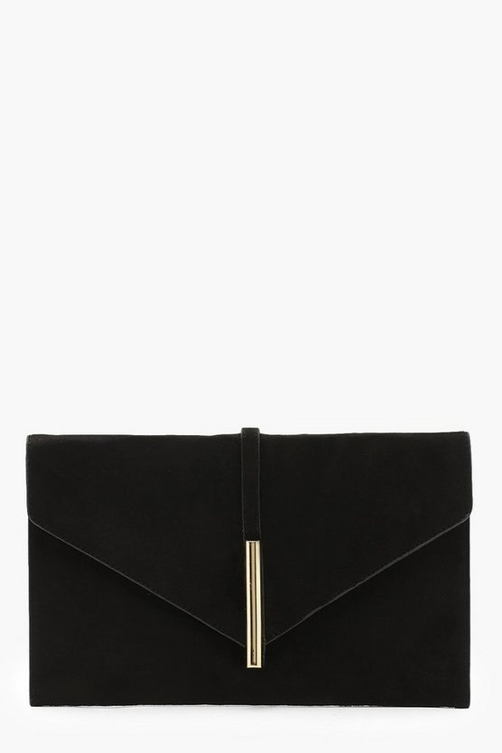 Womens Black Suedette Metal Rod Envelope Clutch