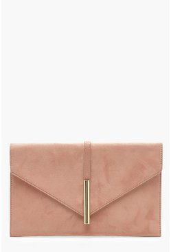 Womens Taupe Suedette Metal Rod Envelope Clutch
