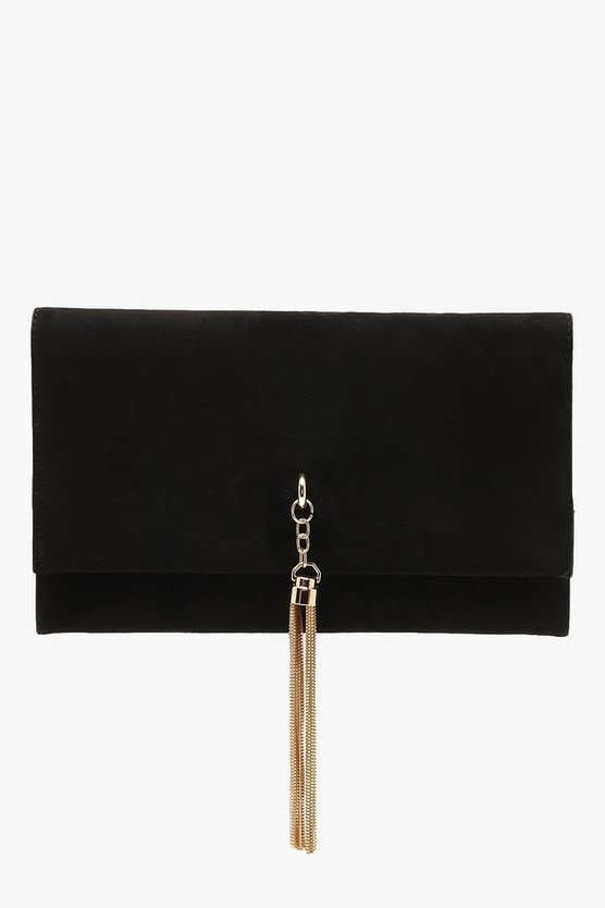 Womens Black Metal Tassel Suedette Clutch And Chain