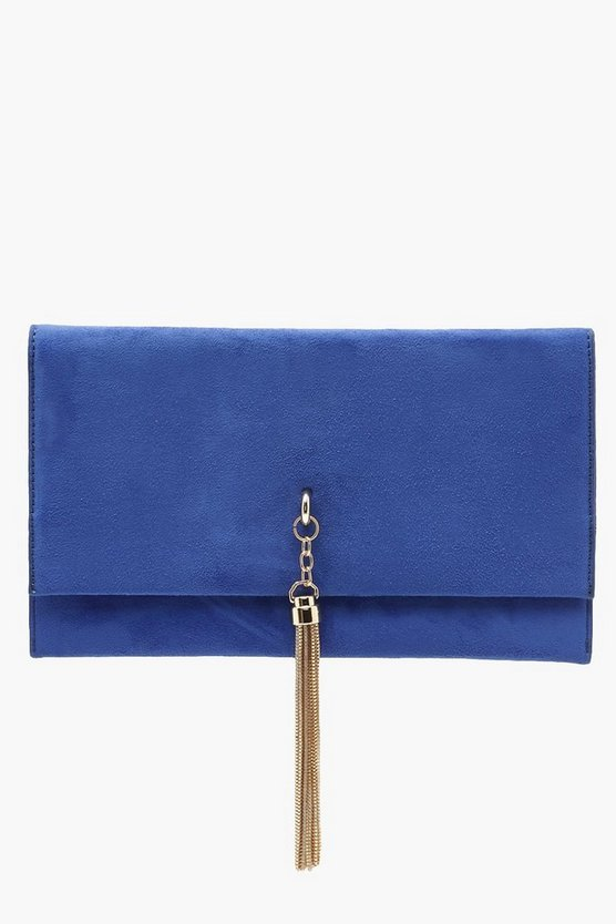Metal Tassel Suedette Clutch And Chain