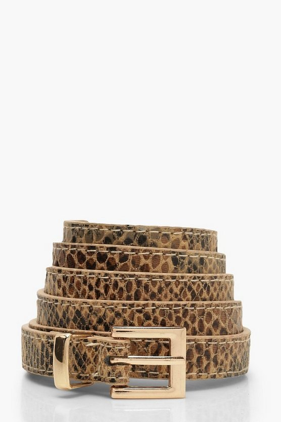 Brown Snake Print Gold Buckle Belt