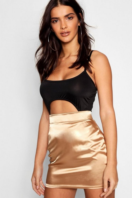 Womens Gold Satin Micro Mini Skirt