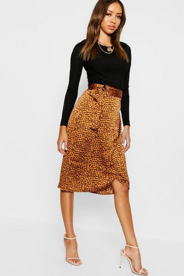 Womens Mustard Leopard Satin Wrap Midi Skirt
