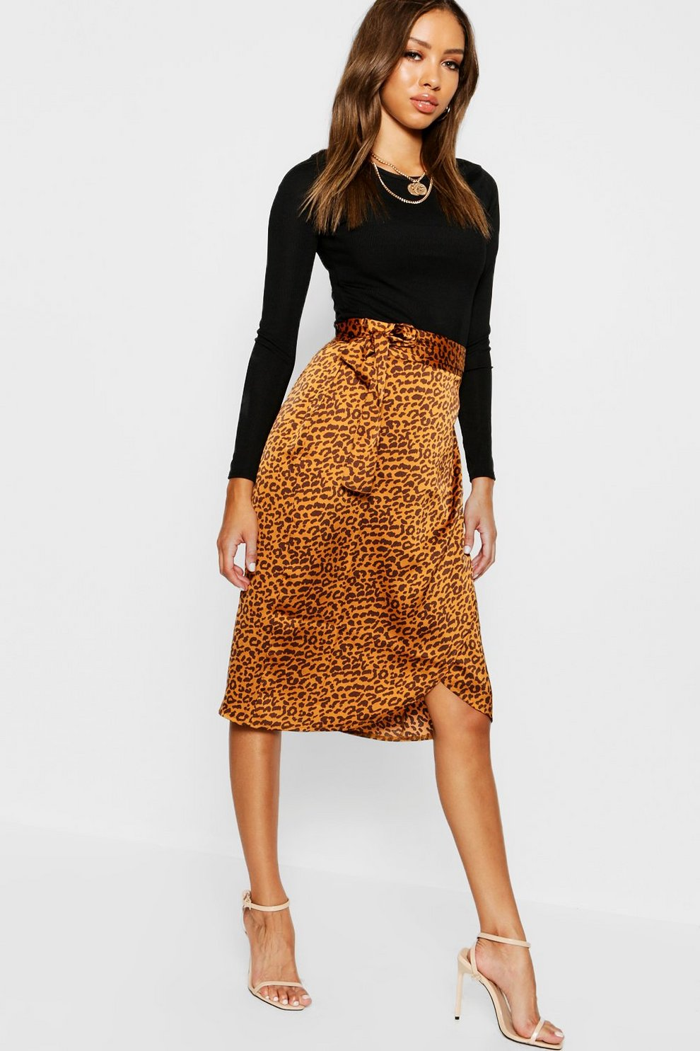 5ace6853a7 Leopard Satin Wrap Midi Skirt | Boohoo