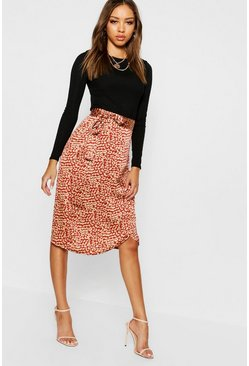 Womens Rust Leopard Satin Wrap Midi Skirt