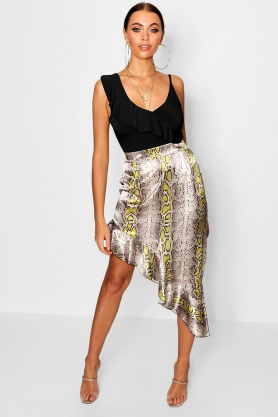 Snake Satin Asymetric Skirt