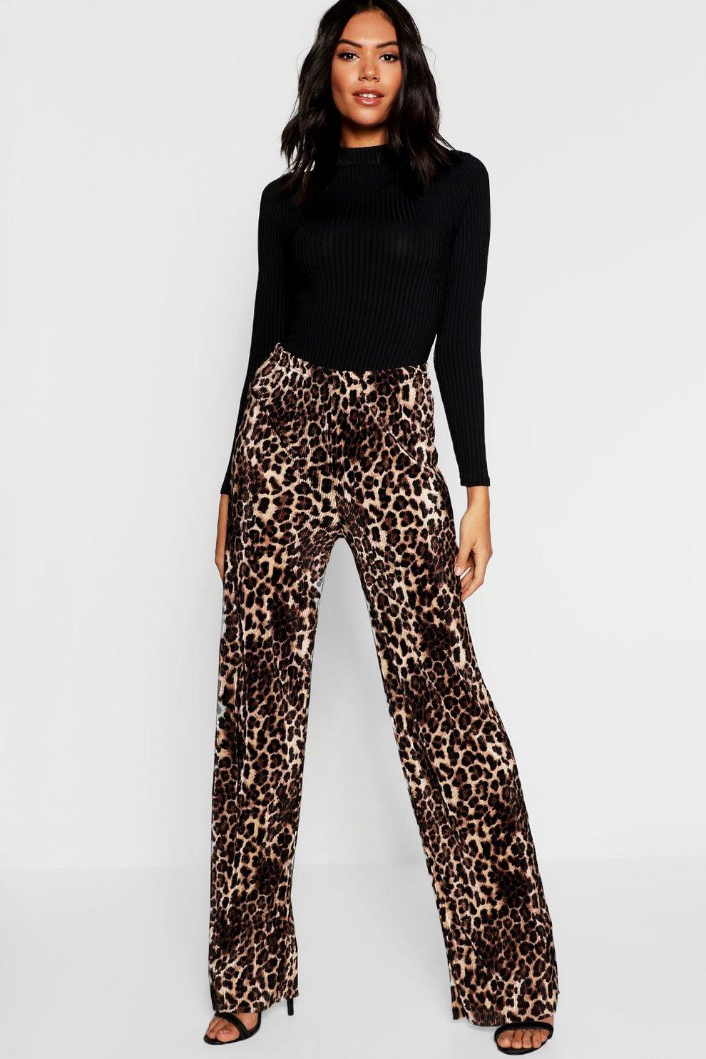 1ca8a0eaa80 Leopard Print Pleated Wide Leg Trouser