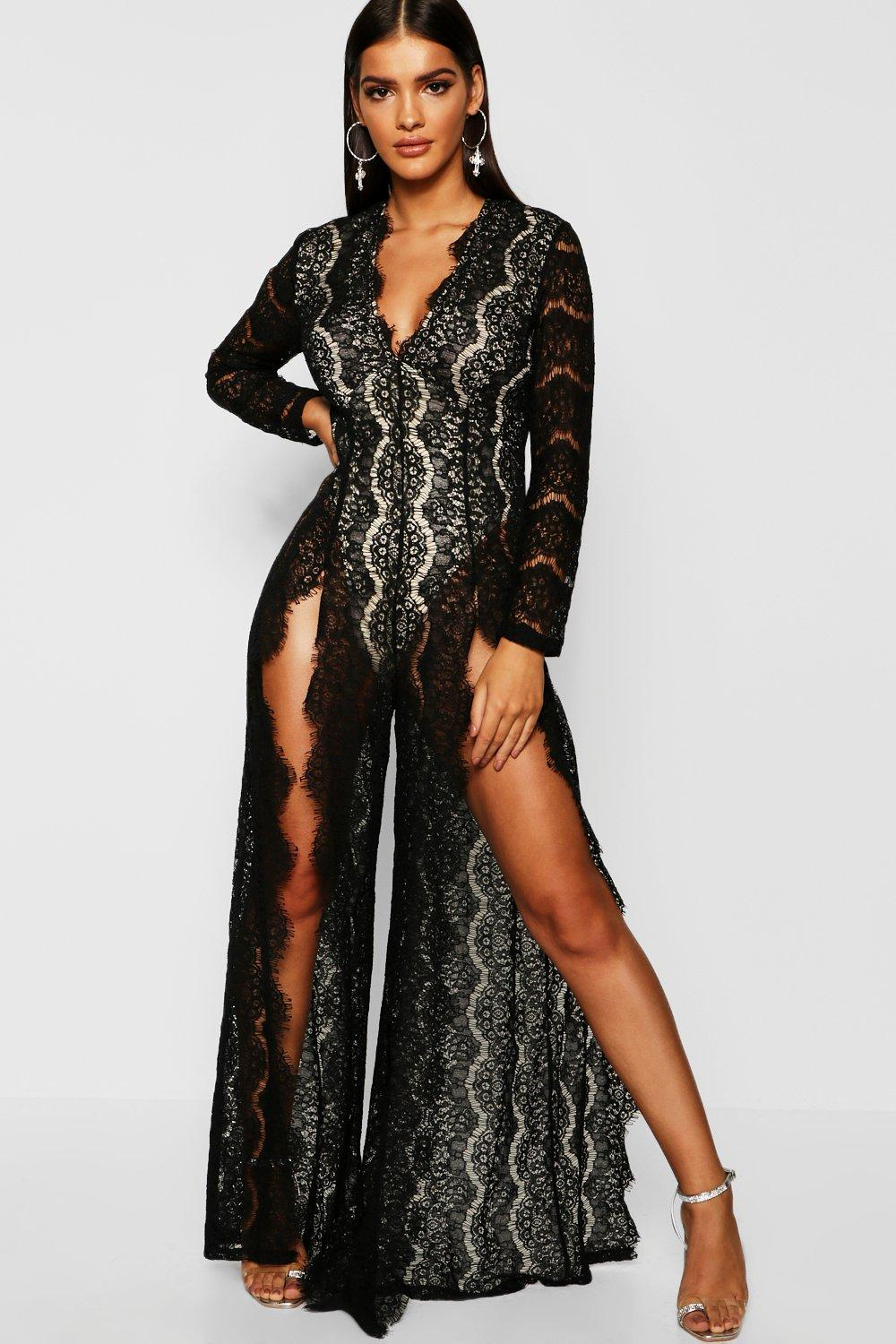 Boutique Lace Split Front Jumpsuit