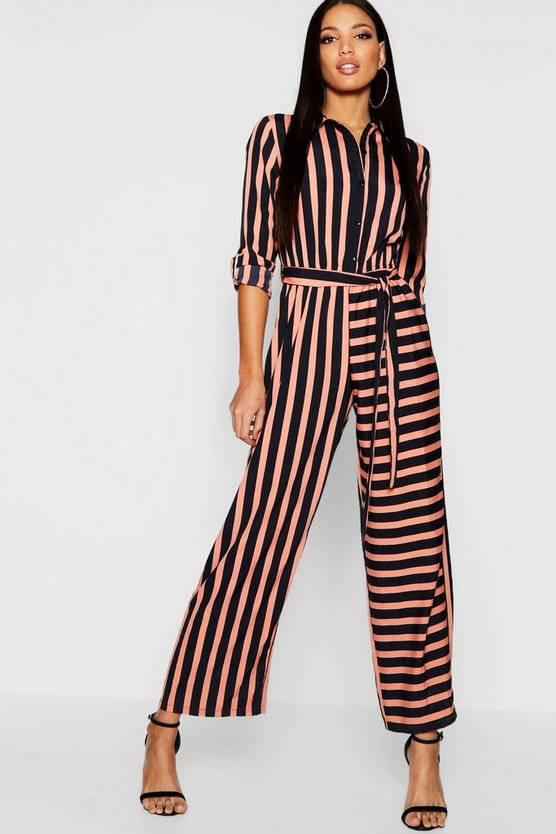 Womens Black Stripe Shirt Jumpsuit