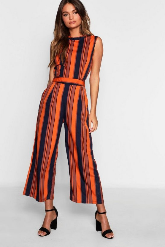 High Neck Stripe Jumpsuit
