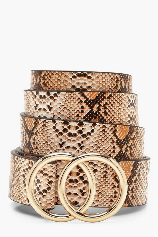 Womens Natural Double Ring Faux Python Belt