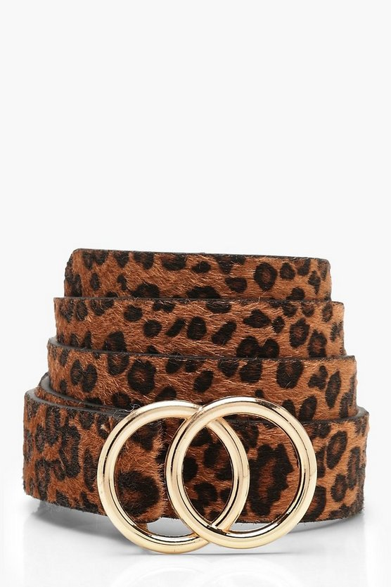 Womens Natural Double Ring Faux Pony Leopard Belt