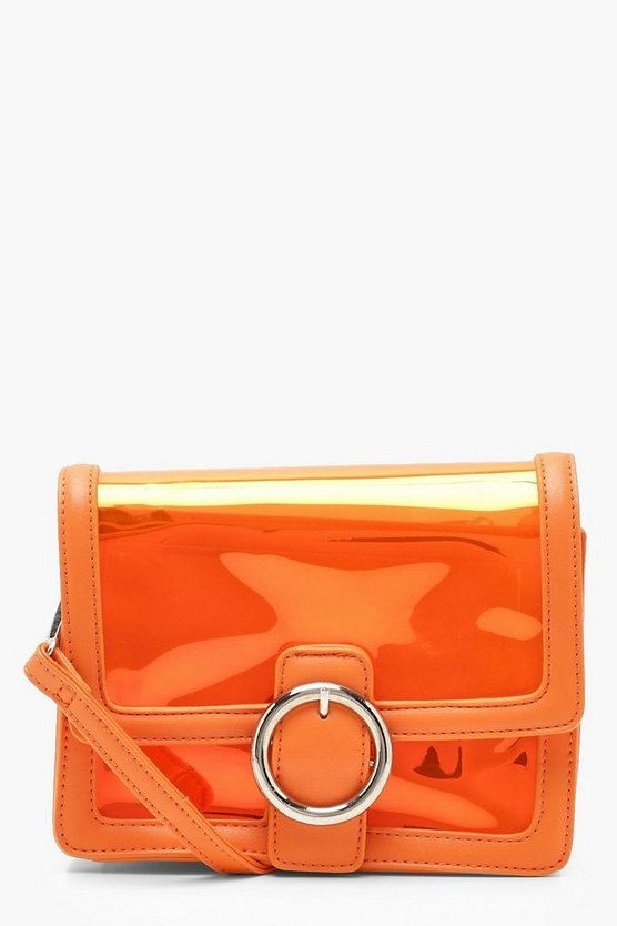 Womens Orange Round Ring Clear Cross Body With Inner Bag