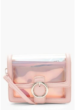 Womens Pink Round Ring Clear Cross Body With Inner Bag