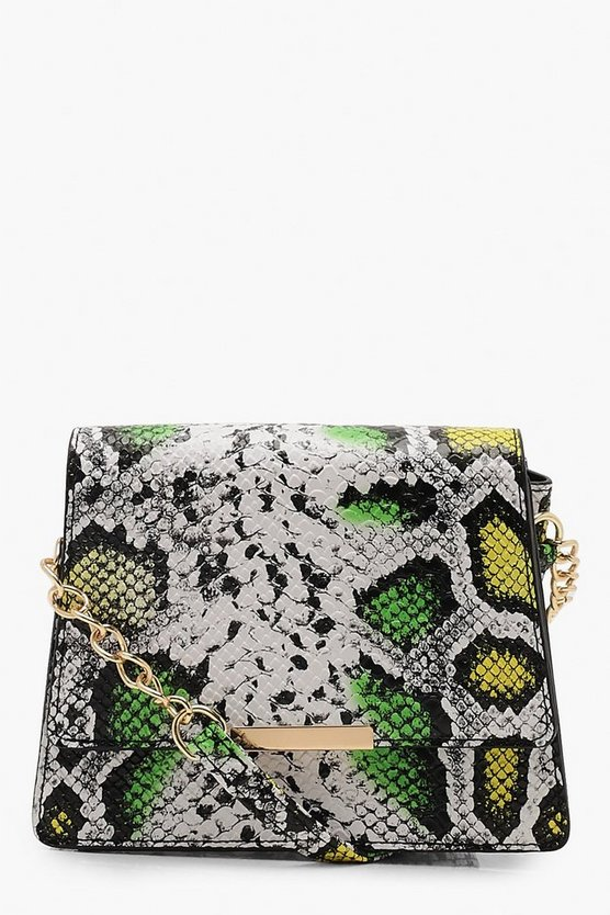 80's Faux Snake Structured Cross Body