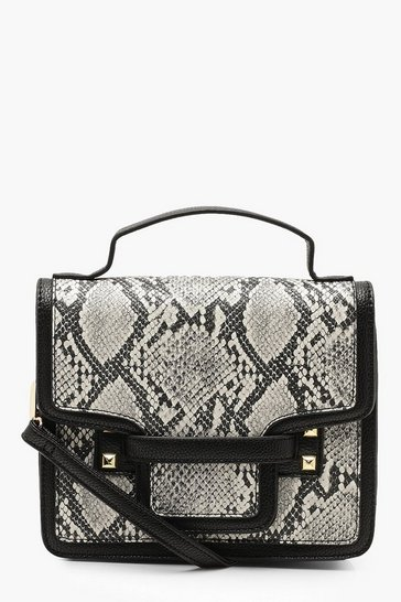 Womens Black Faux Snake Structured Cross Body Bag