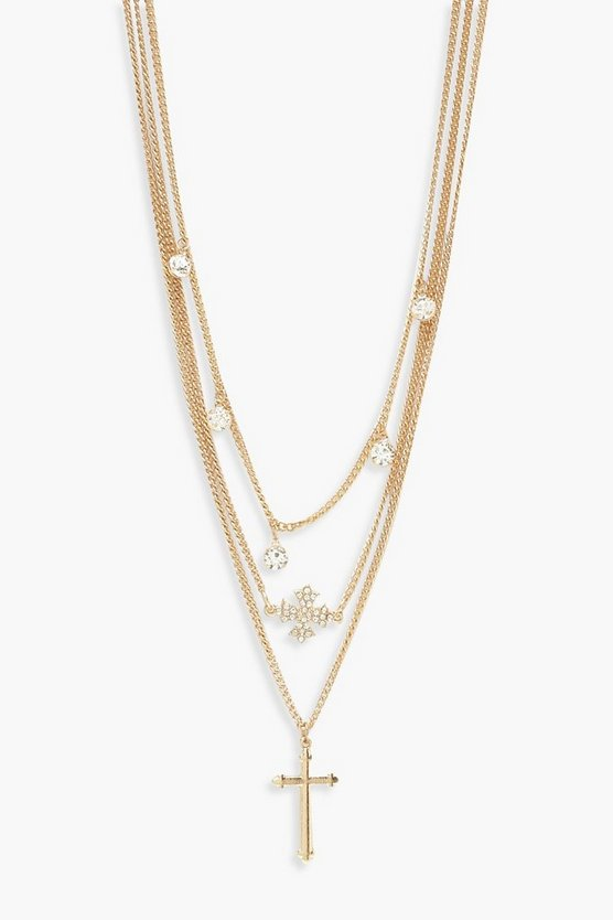 Diamante & Cross Layered Necklace