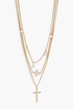 Womens Gold Diamante & Cross Layered Necklace