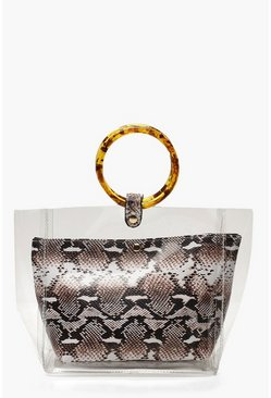 Womens Natural Clear & Faux Snake Bag With Resin Handles