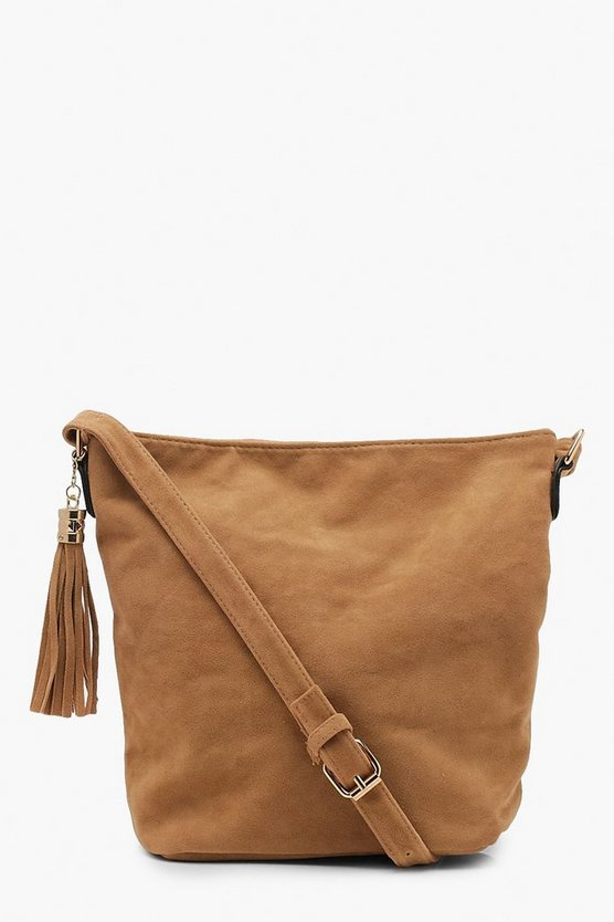 Womens Taupe Suedette Bucket Cross Body
