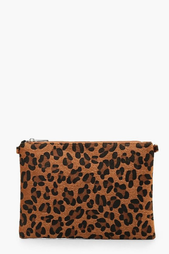 Womens Natural Coloured Leopard Ziptop Clutch With Chain