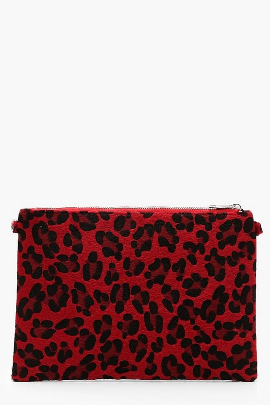 Coloured Leopard Ziptop Clutch With Chain