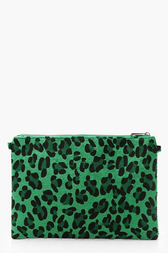 Womens Coloured Leopard Ziptop Clutch And Chain