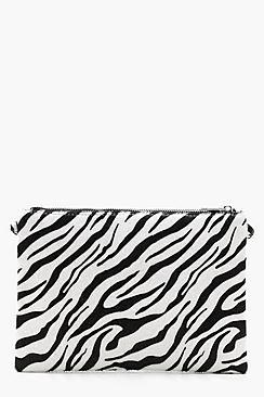Faux Zebra Print Clutch With Chain