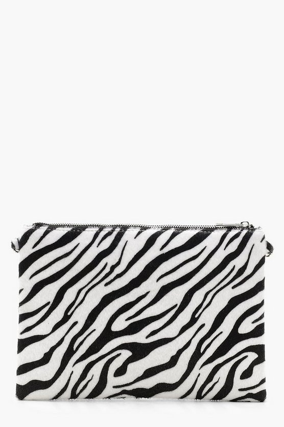 Womens Black Faux Zebra Print Clutch With Chain