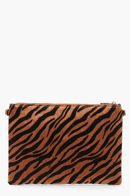 Faux Zebra Print Clutch With Chain